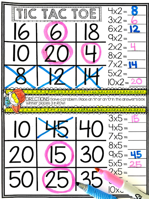 Multiplication Tic Tac Toe Practice Activities Free