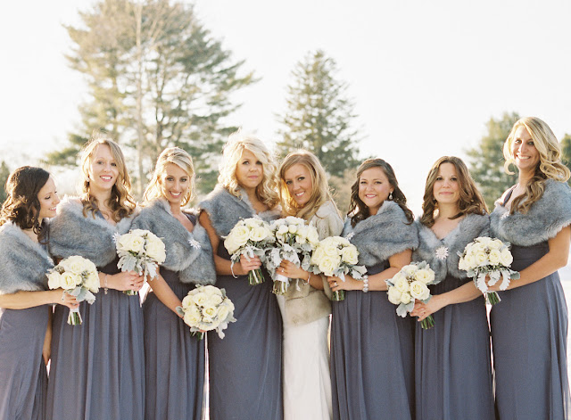 Bridesmaids in purple and fur for Jenna and Chad's wintery Willow Ridge Country Club Wedding | Karen Hill Photography