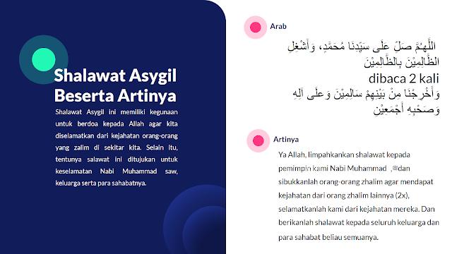 Bacaan Shalawat Asygil beserta artinya