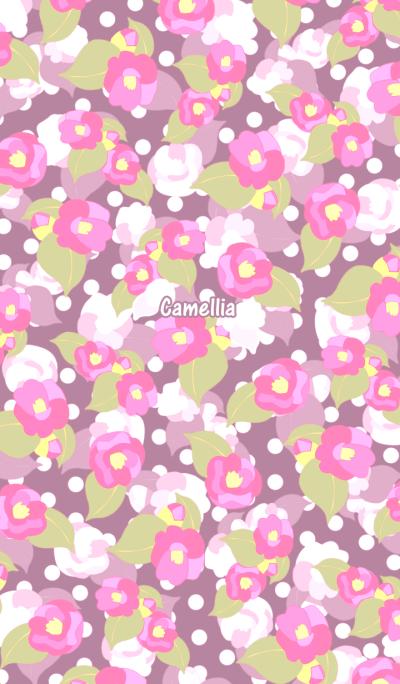 Light pink camellia -Retro polka dots-