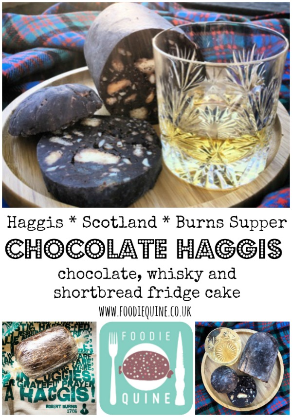 www.foodiequine.co.uk . Haggis for those who don't like Haggis. Perfect for Burns Night for those who are a wee bit squeamish about eating the real thing or are just too lazy to go out and hunt one down in the wild. Chocolate Haggis is a slightly boozy boozy Chocolate, Shortbread and Whisky Fridge Cake. Ideal served with ice cream 'tatties' and orange jelly 'neeps'⁣