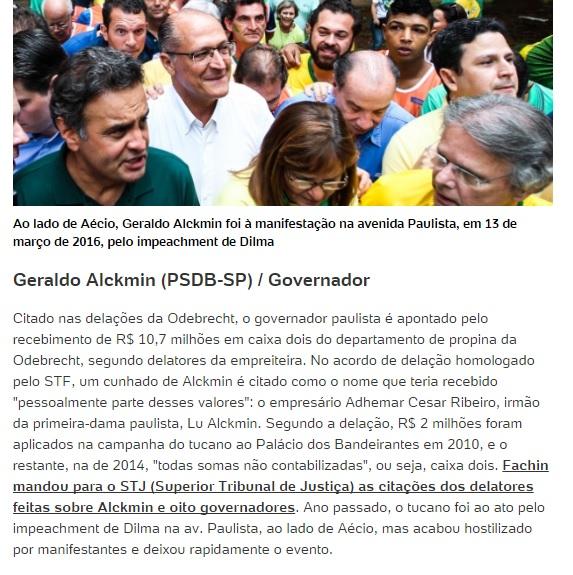 Governador Geraldo Alckmin(PSDB/SP) recebeu R$ 10,3 milhões em propinas