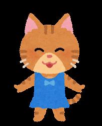 水着の動物のキャラクター(猫の女の子)