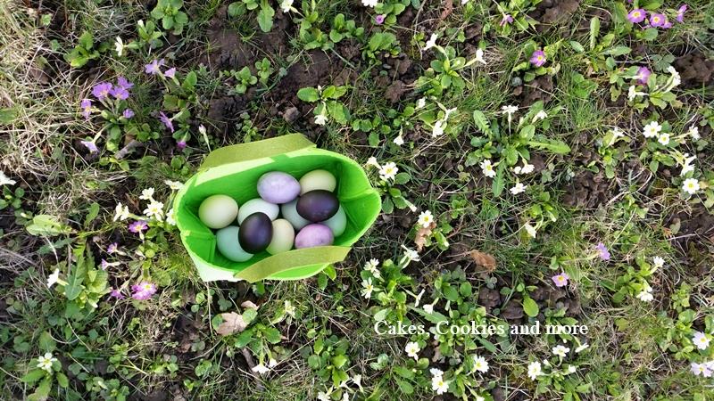 Ostereier mit natürlichen Farben aus Küche und Garten gefärbt