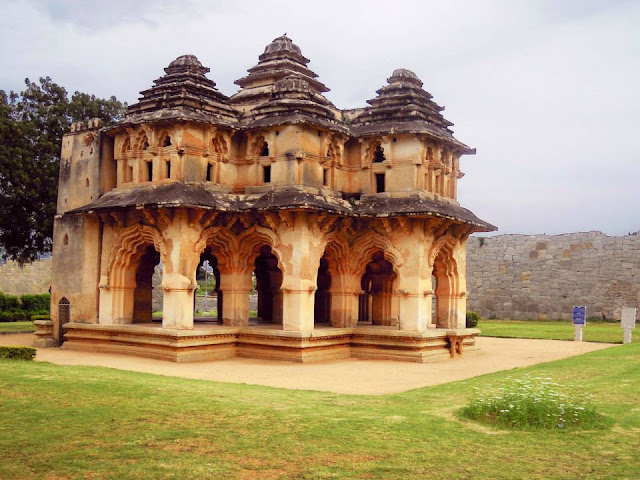 The Lotus Mahal, one of the few structures in Hampi built with bricks.