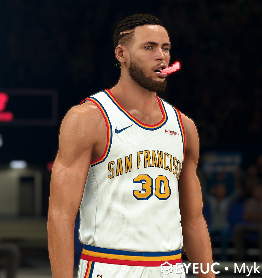 Stephen Curry Cyberface Hair Braid And Body Model Red Mouthguard By Myk For 2k21 Nba 2k Updates Roster Update Cyberface Etc