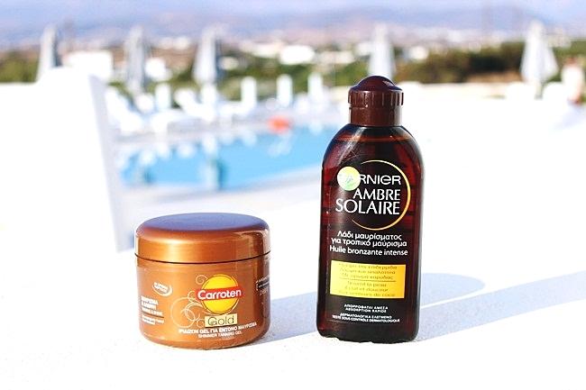 Garnier Ambre Solaire bronzing oil spf2.Carroten Gold shimmer tanning gel.