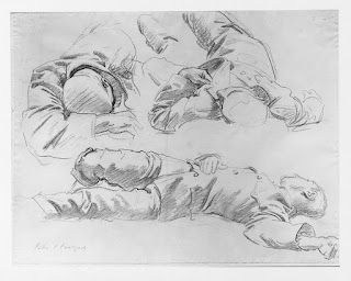 "John Singer Sargent's sketch Studies for Wounded Soldier for ""Death and Victory"""
