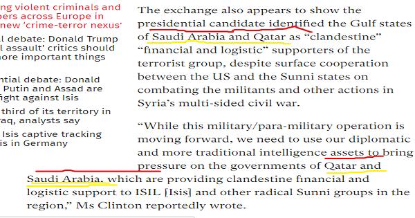 """هيلارى كلينتون : قطر والسعودية تمولان تنظيم """"داعش"""""""