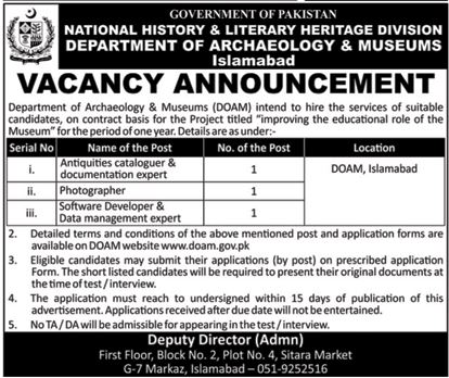 Department of Archaeology and Museums Islamabad Jobs 2018