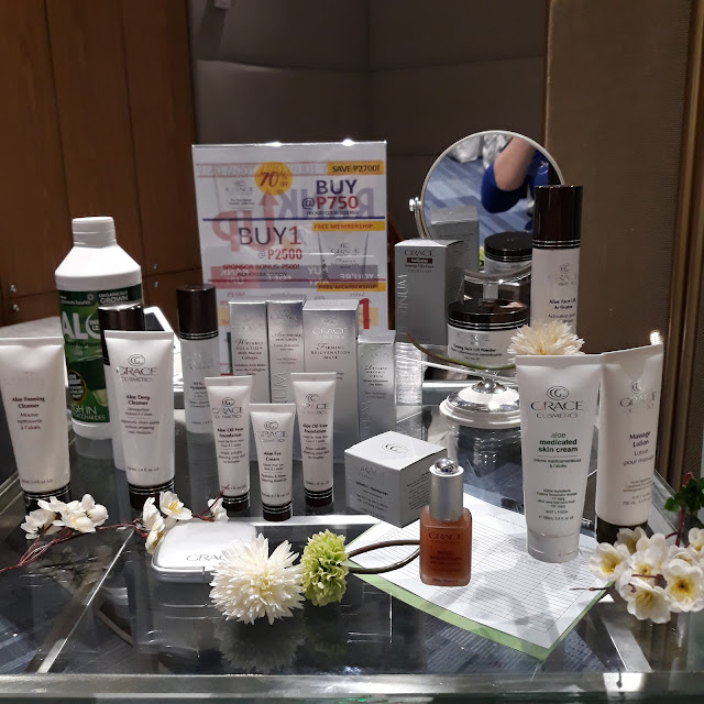 Grace Cosmetics, Pro-Ma Systems products on display.
