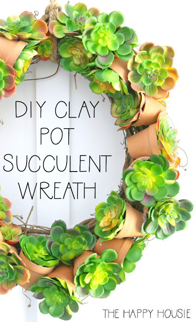 DIY clay pot succulent wreath