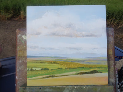 view above Drumheller, AB.  Painting landscapes en plein air.  Alberta Landscape #94