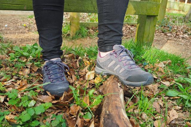 purple and grey Berghaus walking boots