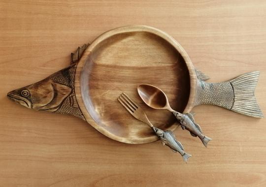 набор деревянной резной посуды судак