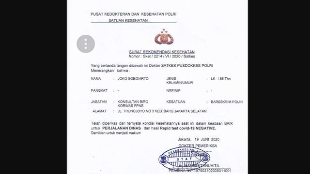 Setelah surat jalan, dokumen surat bebas Corona (COVID-19) untuk Djoko Tjandra yang diterbitkan oleh Pusat Kedokteran dan Kesehatan (Pusdokkes) Polri beredar di media sosial. Polri mengatakan Pusdokkes akan turut diperiksa terkait surat bebas Corona itu.