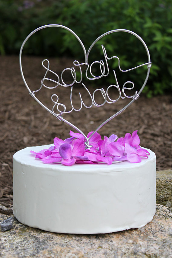 Custom Wire Heart Names Wedding Cake Topper 45 00