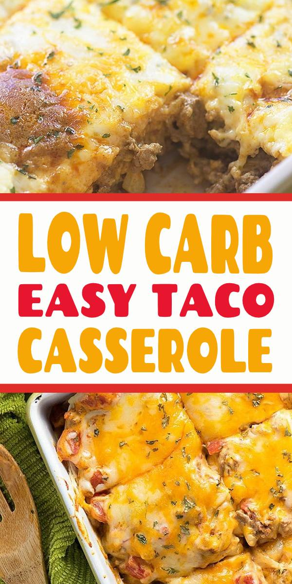 This low carb taco casserole is such an easy dinner and my whole family enjoys it. It whips up in minutes and makes 6 servings with 5 net carbs each. You're going to love this one! #casserole #lowcarb #dinner #taco