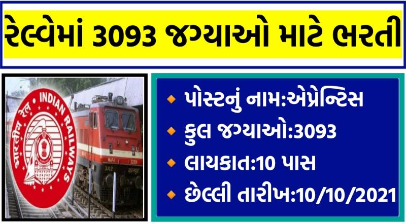RRCNR Recruitment 2021 Northern Railway 3093 Apprentice Recruitment 2021