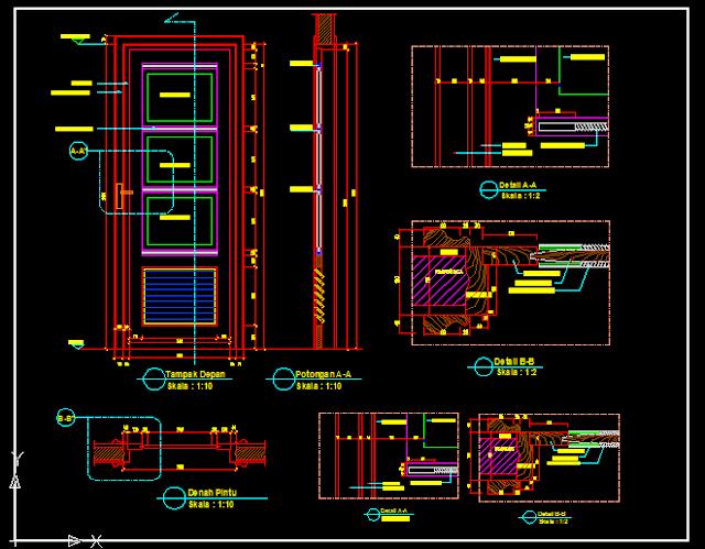 Gambar Kerja Detail Pintu Kayu Lengkap