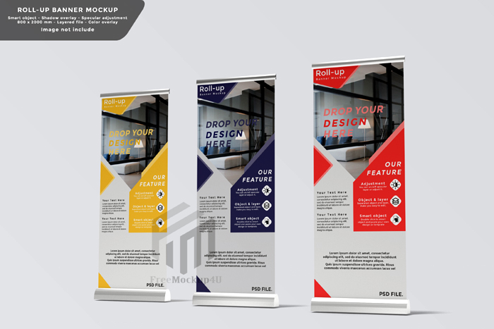 Roll Up Banner Mockup Design Side View Psd Template