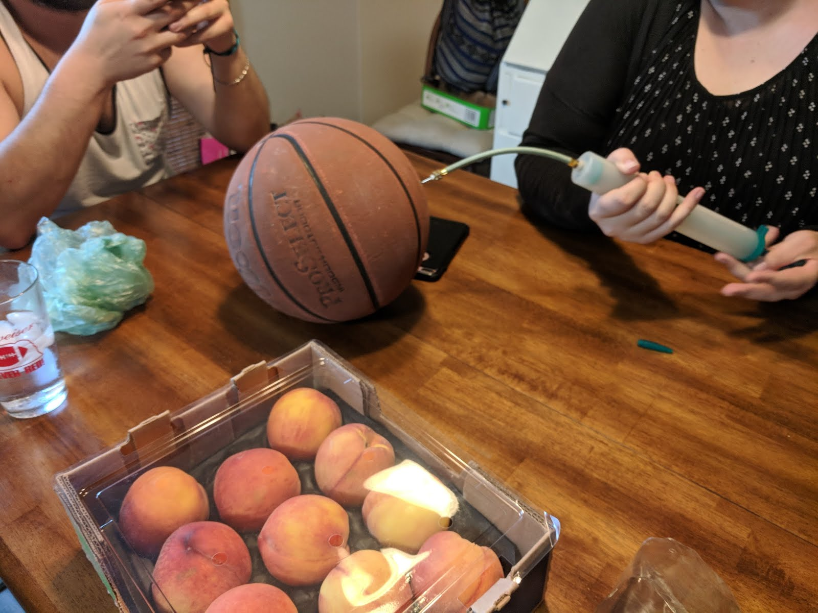 peaches grilled case baskeball pump birthday table celebration