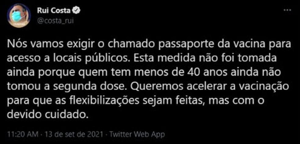 Governador da Bahia anuncia exigência do 'passaporte da vacina' para acesso a locais públicos