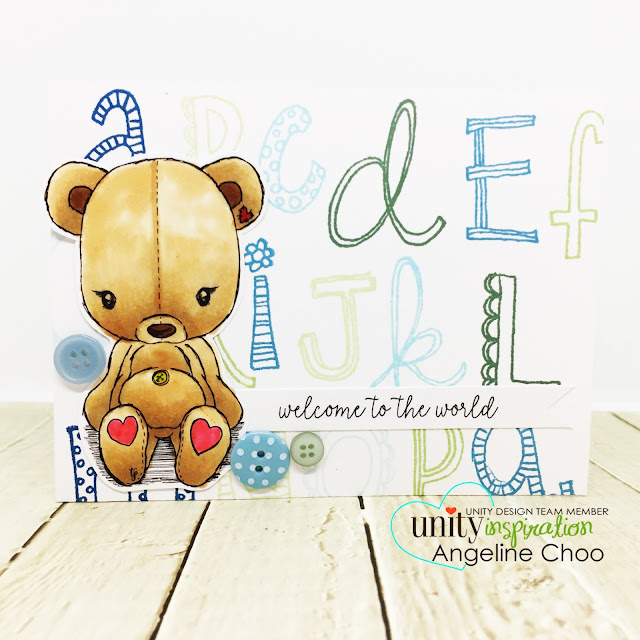 ScrappyScrappy: April Unity Stamp Blog Hop - Cuddlebug Teddybear #scrappyscrappy #unitystampco #cuddlebug #youtube #quicktipvideo #video #card #cardmaking #papercraft #stamp #stamping #cuddlebugteddybear #teddybear #alphabeticallyadorable #alphabetstamp #babyboycard #welcometotheworld #copicmarkers