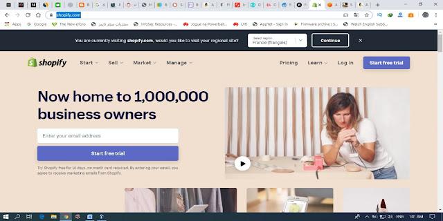 الموقع التاسع موقع الربح من الانترنت SHOPIFY .