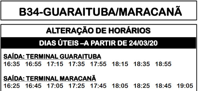Horário de ônibus B34 GUARAITUBA/MARACANÃ 2020
