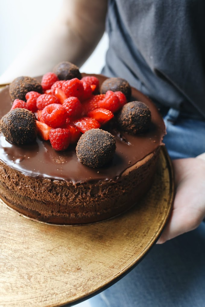 Chocolate cake with strawberry toppings