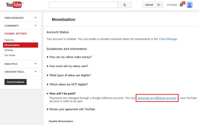 Associate an AdSense account to your YouTube
