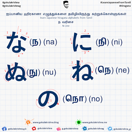 Japanese Hiragana N - Line Consonants with Stroke Order | learn Japanese hiragana alphabets from Tamil - Hiragana Letters Part 5