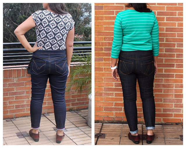 Fitting tips for reducing back wrinkles in the Liana Stretch Jeans sewing pattern.