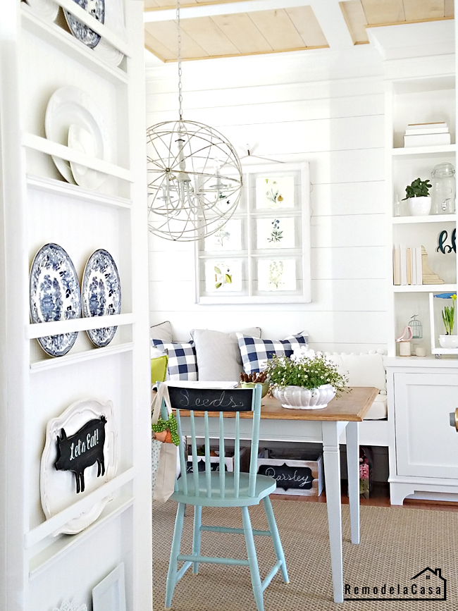 plate rack and farmhouse office space with built-ins