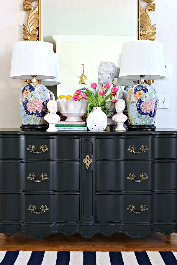 entry styling, console table vignette, tobacco leaf, diana bust, french provincial, tricorn black