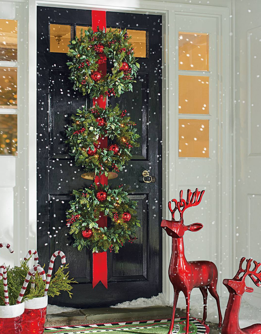Grandin Road Cordless Holly and Berry Wreaths