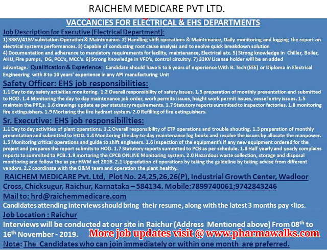 Rai Chem Medicare - Walk-in interview for Electrical / EHS departments on 8th to 16th November, 2019