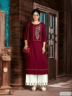 Stunning Rayon Cotton Solid With Embroidery Palazzo Sets