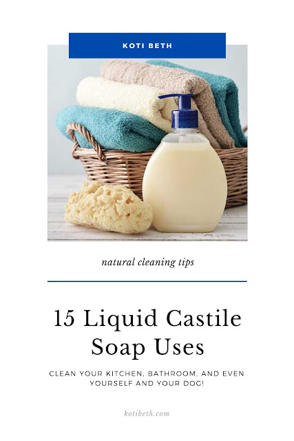 15 Liquid castile soap uses for your home. Get tips and hacks for natural cleaning with just one product.  Use it to clean bathroom, floors, dishes, and even your dog! Save money on supplies and cleaning products and replace them with just one bottle. #naturalcleaning #castile