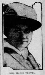 News clipping of headshot of a youngish-looking white woman wearing a big, pale hat