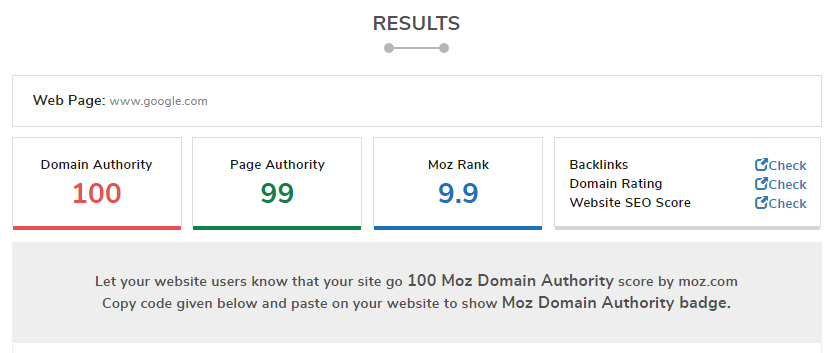 Domain Authority Checker tools