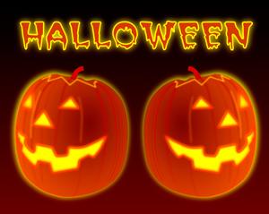 Imagen de dos calabazas naranjas de Halloween