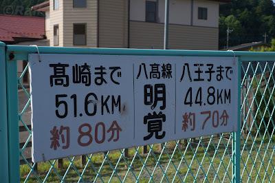 八高線の終点からの距離を表す看板