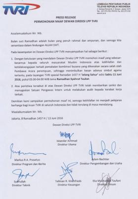 TVRI meminta maaf kepada masyarakat muslim indonesia