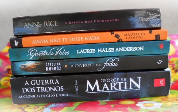 livros, A rainha dos condenados, Ainda não te disse nada, Garotas de vidor, O inverno das fadas, A guerra dos tronos