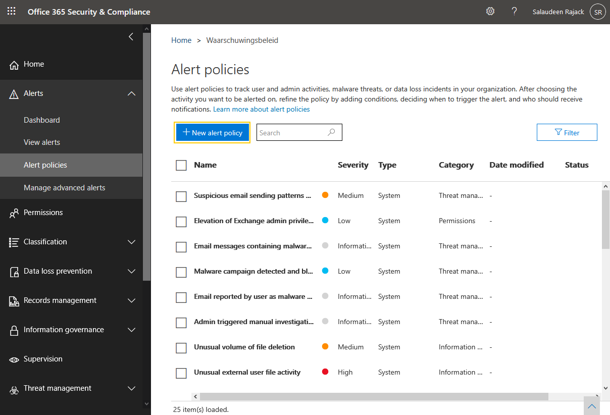 create alert policy
