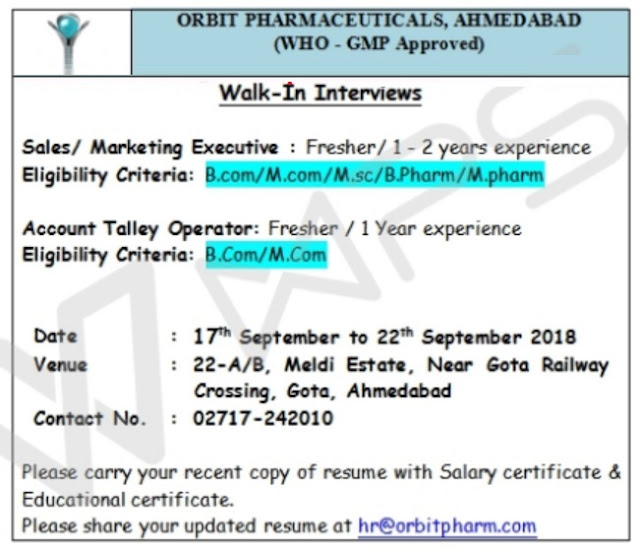 Orbit Pharmaceuticals  Walk In Interview For Freshers & Experienced Candidates at 17 To 22 Sep