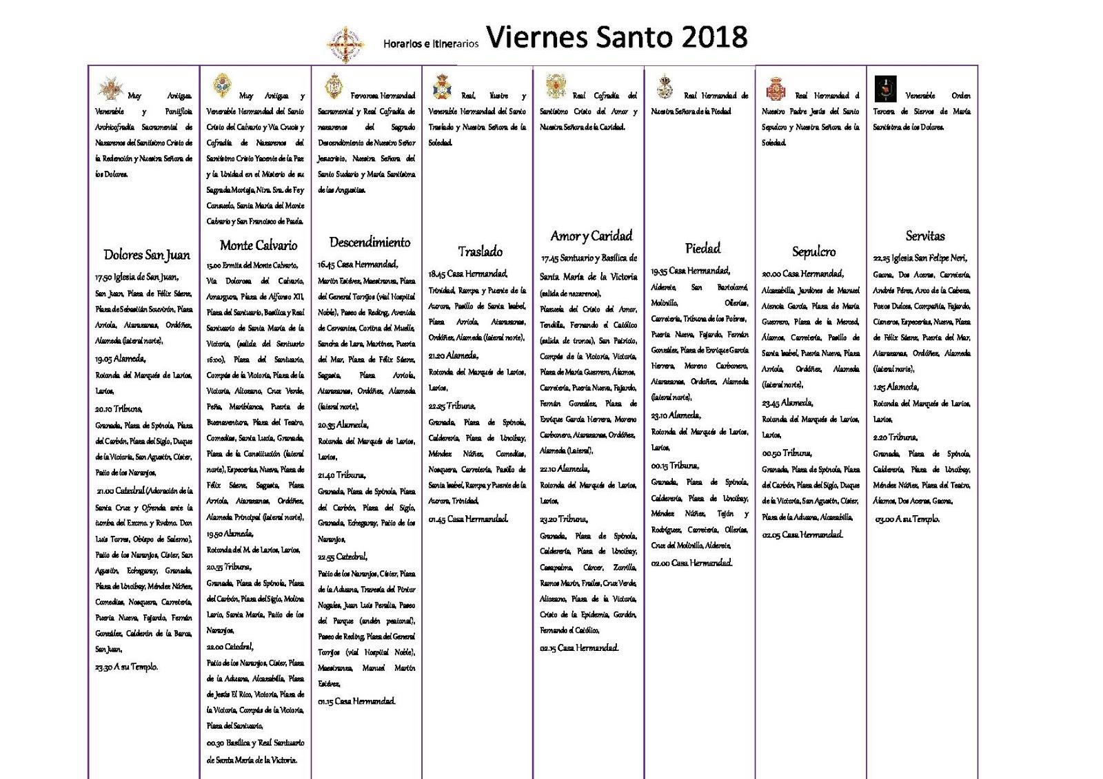 Horario e itinerario semana santa m laga 2018 cofradiastv for Horario oficina correos malaga