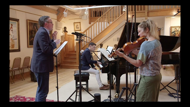 Gavan Ring, Niall Kinsella, Mia Cooper in the Music Room at Champs Hill